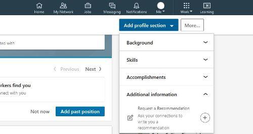 Screenshot request a recommendation on LinkedIn