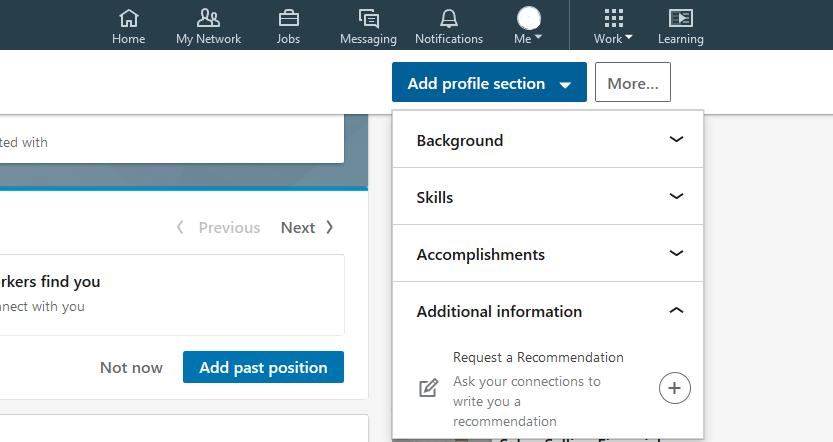 como solicitar recomendação no linkedin - passos