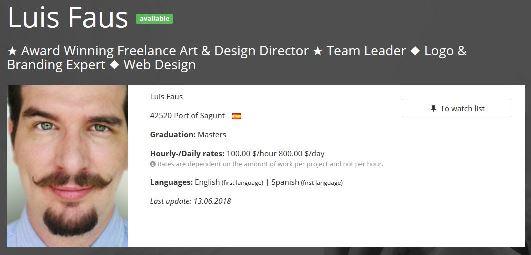 Exemplo perfil freelance foto perfil profissional Freelance Art Design director